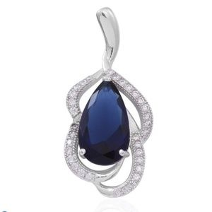 Sterling Silver Blue Cubic Zirconia Pendant